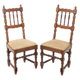 1900s French Oak Farm Chairs - A Pair