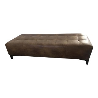 Large Modern Vegan Leather Upholstered Brownstone Ottoman