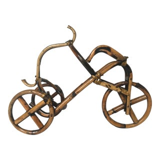 French Rattan Bicycle Wine Caddy