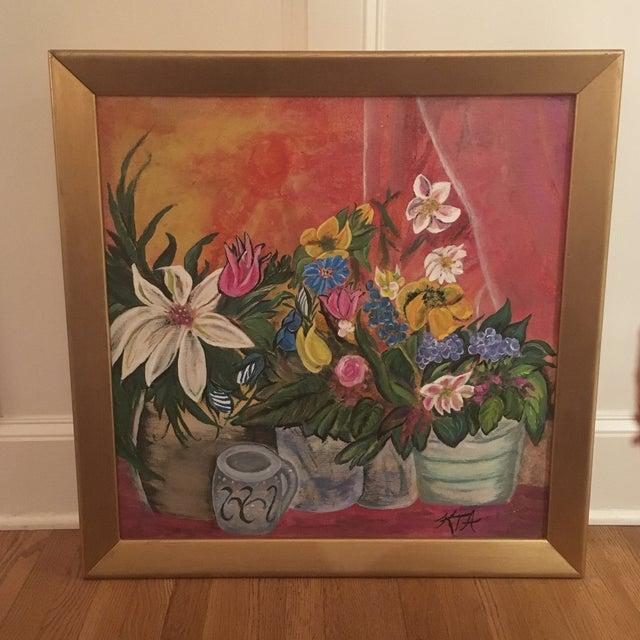 Mid-Century Modern Jardiniere 1966 Painting - Image 2 of 7