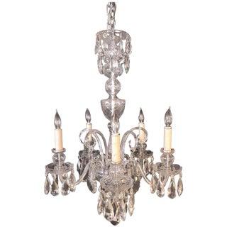 Fine Cut Crystal Georgian Chandelier with Large Pendants