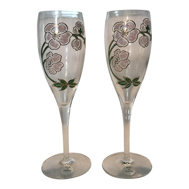 Perrier Jouet Champagne Flutes- A Pair - Image 1 of 10