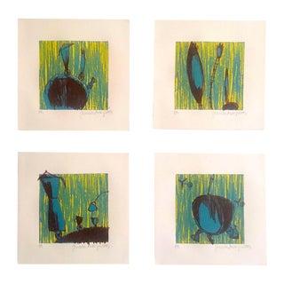 "Original Lithograph Prints ""Landscapes"" - Set of 4"
