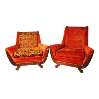 Mid-Century Orange Upholstered Club Chairs - A Pair