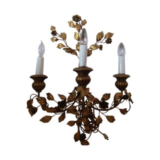 Antique Gold Floral 3-Light Wall Sconce