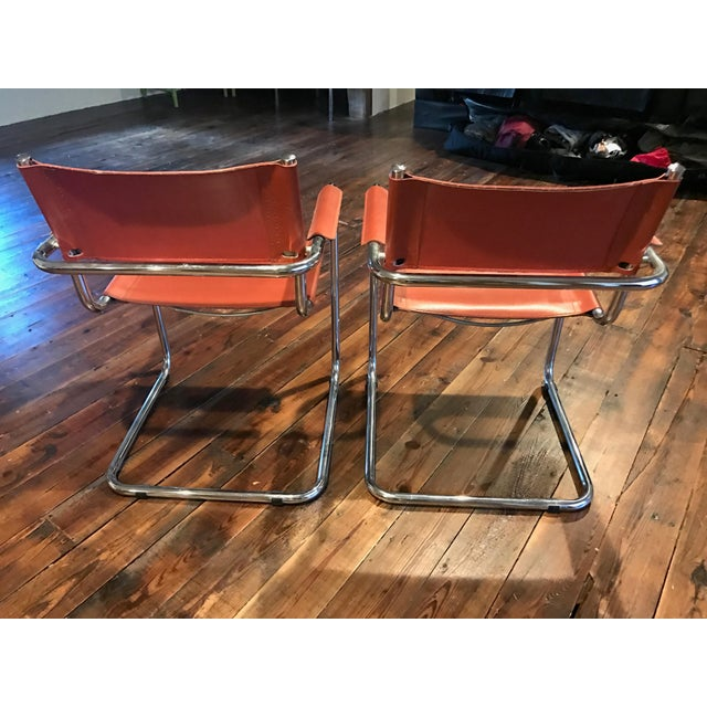 Image of Mart Stam Thonet S34 Tubular Cantilever Chrome and Leather Chairs - a Pair