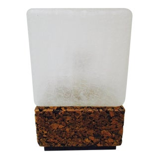 Mid-Century Modern Cork Cube Glass Modernist Table Lamp