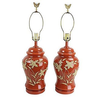 Japanese Moriage Table Lamps - Pair