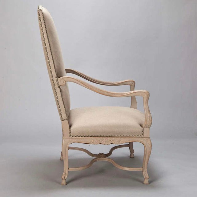Tall French Arm Chair with Carved Painted Frame - Image 5 of 7