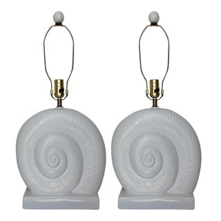 Vintage Nautilus Shell-Shaped Lamps - A Pair
