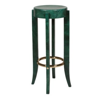 Green Parchment Bar Stool by Karl Springer
