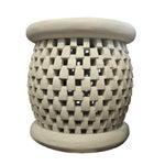Image of Bamileke Basketweave Carved Side Table