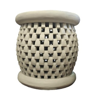 Bamileke Basketweave Carved Side Table