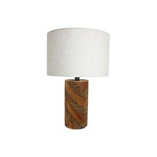 Mid-Century Modern Cork & Walnut Lamp