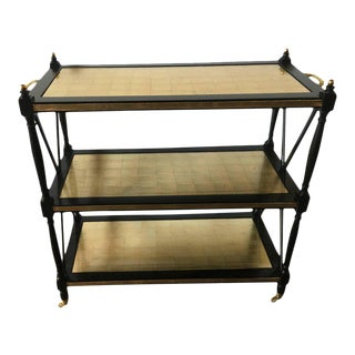 Fine Ebony And Gilt Glass Bronze Mounted Three Tier Tea Serving Cart