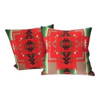 Pair of Pendleton Indian Design Blanket Pillows