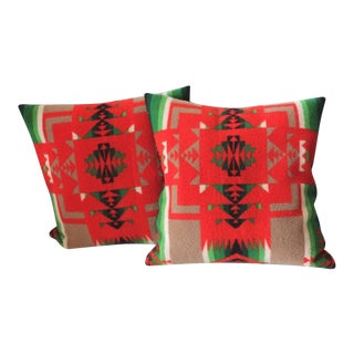 Pair of Pendleton Indian Design Blanket Pillows
