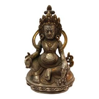 Tibetan White Metal Hindu Mahakala Sculpture