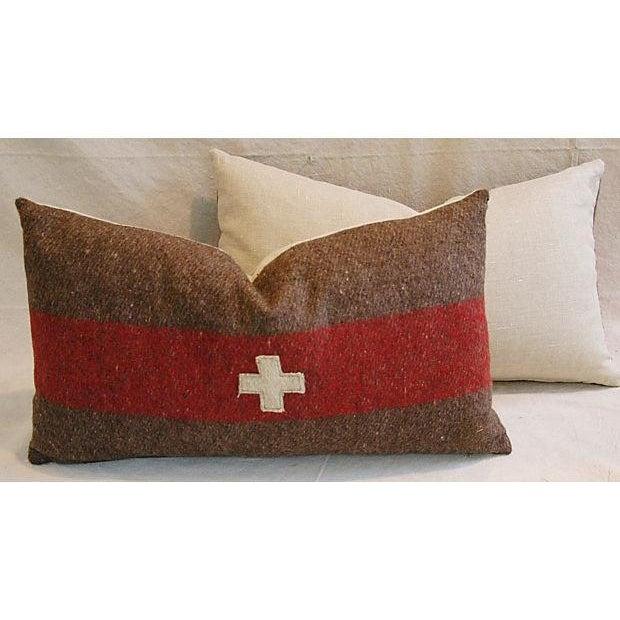 Swiss Wool Appliqué Cross Lumbar Pillows - Pair - Image 6 of 8