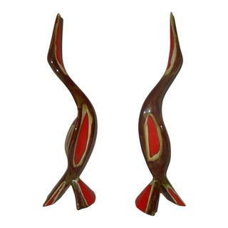 Mid-Century Bird Statue Ceramic - a Pair