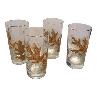 Culver Mid-Century Modern 22Kt Gold Leaf Highball Glasses- Set of 4