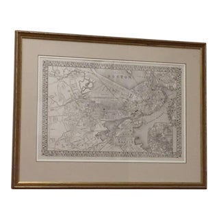 Framed Antique Boston Map Lithograph, 1879