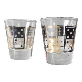2 Anchor Hocking Domino Shot Glasses Black & Gold Mid Century