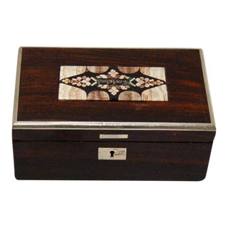 19th Century Austrian Rosewood Karlsbad Decorative Box With Pietra Dura Lid