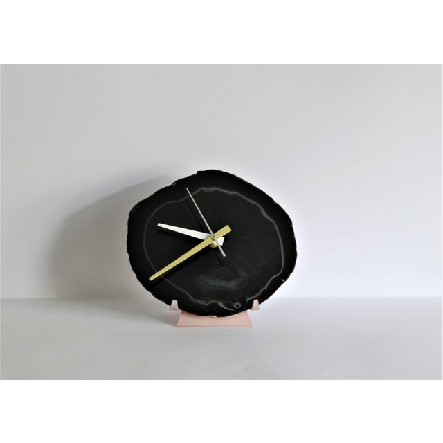 Image of Black Agate Slice Desk Clock