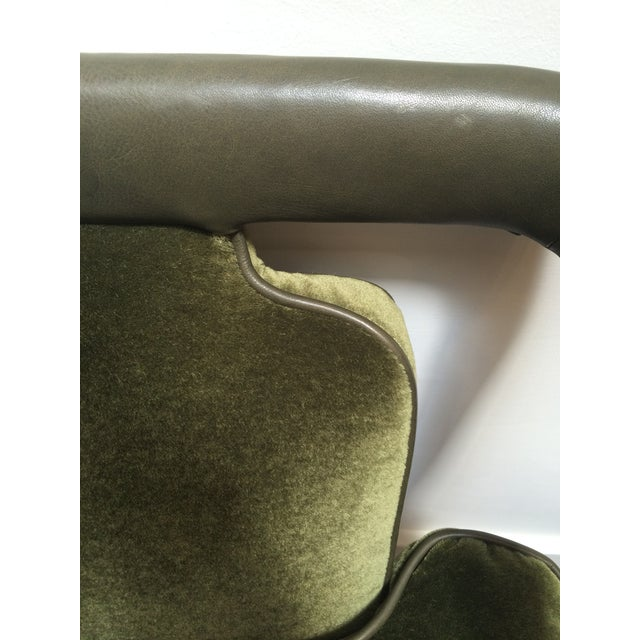 Green Leather & Mohair Lounge Chair - Image 10 of 10