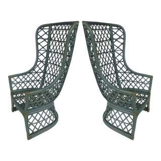 High Back Painted Rattan Chairs- A Pair