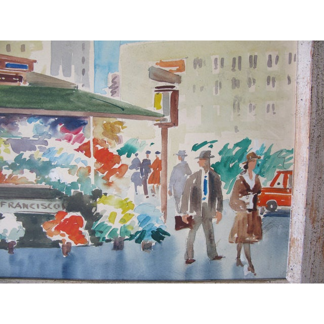 Danny Hall Mid-Century San Francisco Watercolor Painting - Image 5 of 5