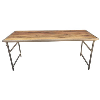 Industrial-Style Fruitwood & Chrome Table