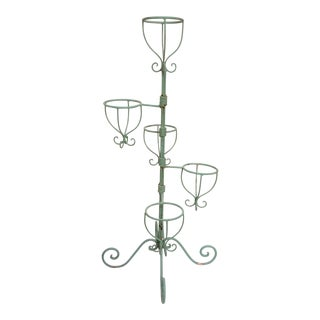 Vintage Green Iron Plant Stand