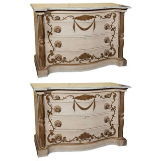 Jansen Marble Top Commodes - A Pair
