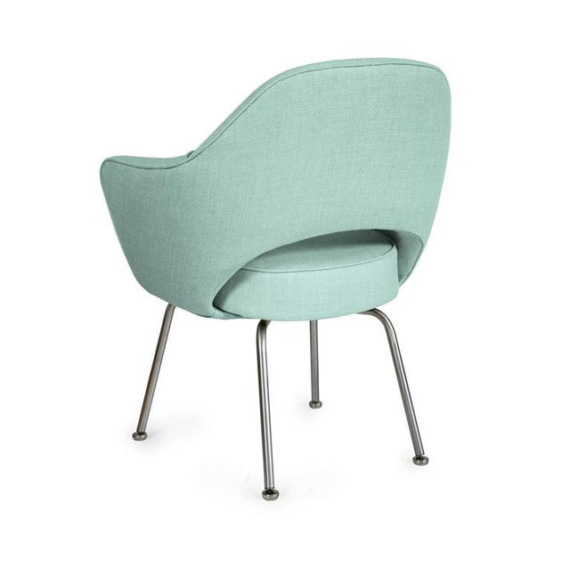 Saarinen Executive Armchairs in Powder Blue Woven-Microfiber, Set of Six - Image 3 of 5