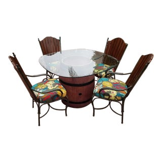 Glass Top Wine Barrel Table & 4 Vintage Chairs- 5 Pieces