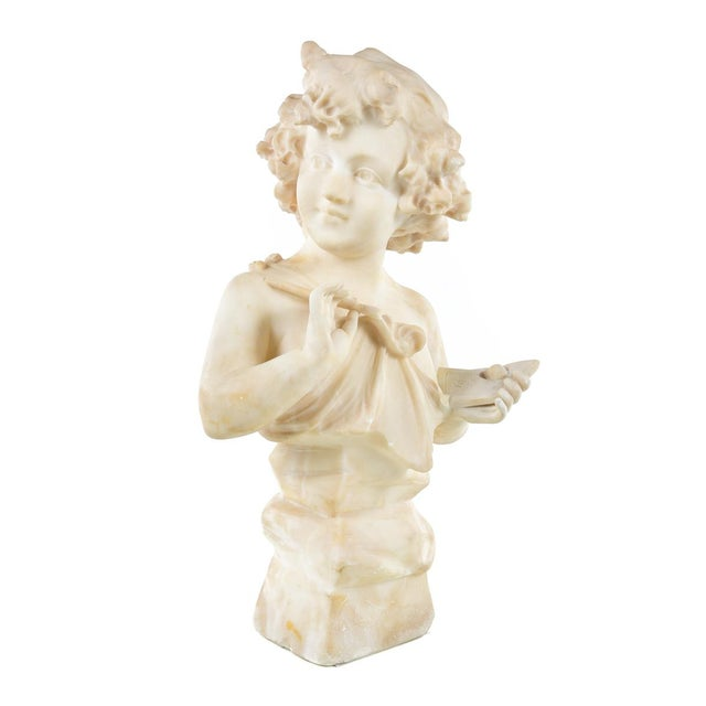 19th Century Antique Alabaster Sculpture of a Young Painter - Image 2 of 9