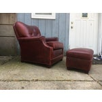 Image of Art Deco Style Vintage Leather Chair & Ottoman