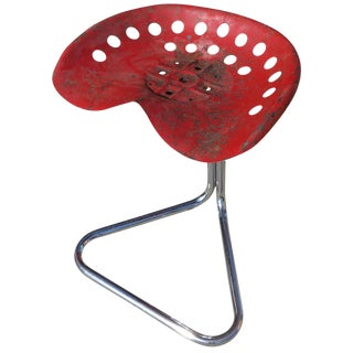"Rare Red Rodney Kinsman ""T7 Tractor"" Outdoor/Patio Stool for OMK"