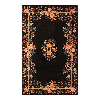 Mint Authentic Black Art Deco Contemporary Peking Chinese Rug - 6' x 9'
