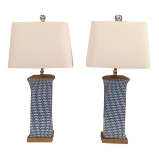 Porcelain Asian Style Blue & White Lamps - A Pair
