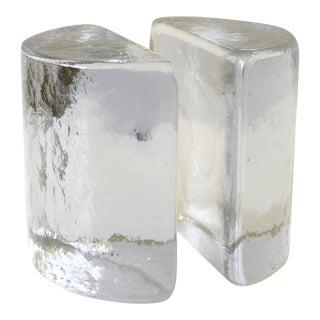 Vintage Blenko Glass Half Moon Bookends - A Pair