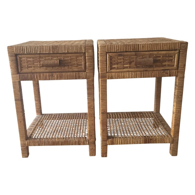 Island Woven Rattan End Tables - A Pair - Image 1 of 6