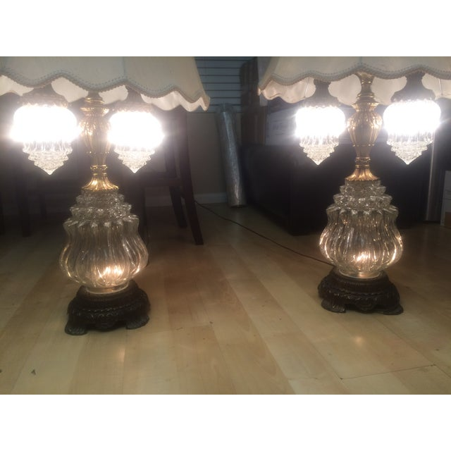 Vintage Brass & Crystal Lamps - Pair - Image 9 of 11