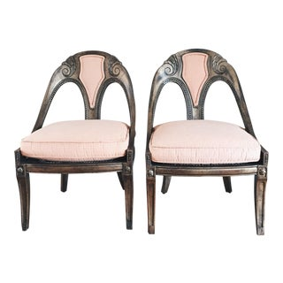 Antique French Style Upholstered Cane Chairs - A Pair