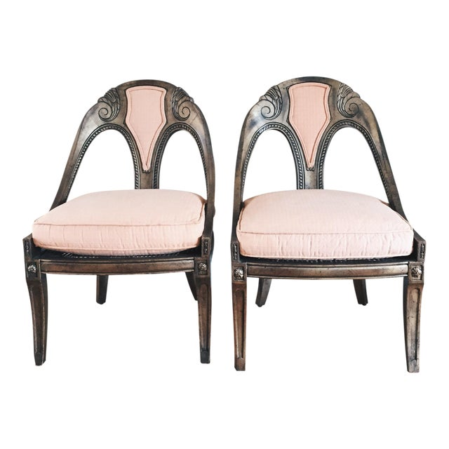Antique French Style Upholstered Cane Chairs - A Pair - Image 1 of 7