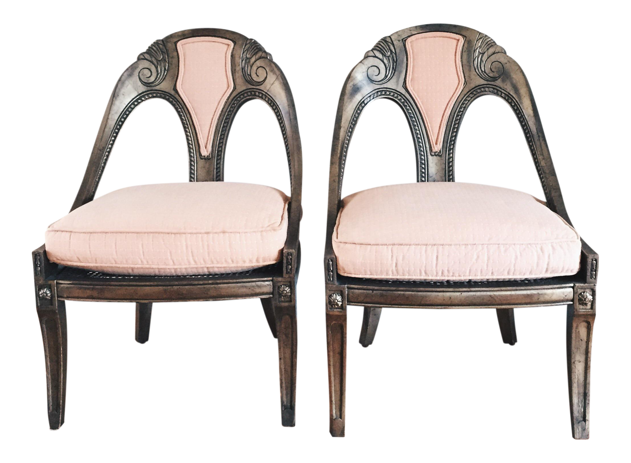 Antique French Style Upholstered Cane Chairs   A Pair