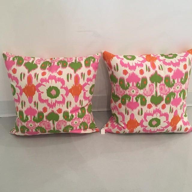 Pink, Orange & Green Ikat Pillows - A Pair - Image 4 of 6