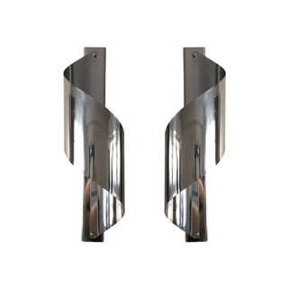 Mid-Century Chrome Spiral Wall Sconces - A Pair